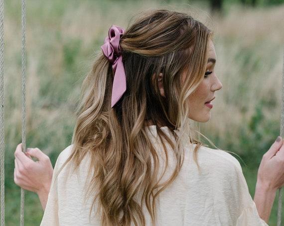 Mauve Silk Scrunchie/Pony Scarf/Bow Scrunchie