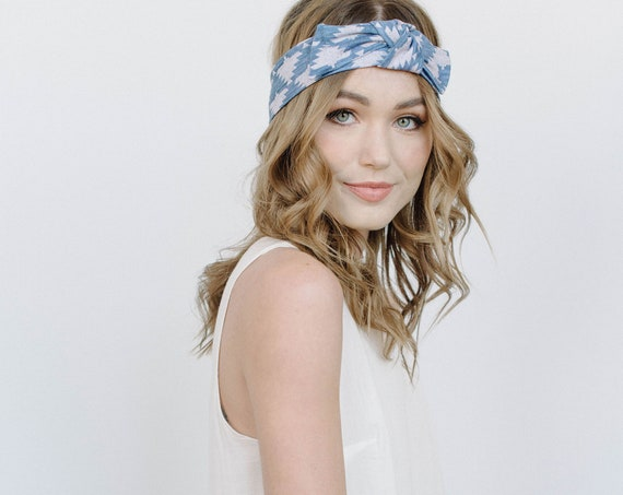Printed Stretch Headband/Knotted Headband/Soft Headband/Chambray Blue