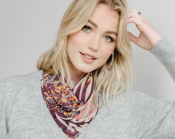 Floral Printed Bandana/Square Neck Scarf/Hair Scarf/Chiffon Scarf/Plum