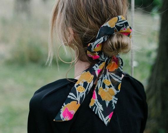 Black Floral Scarf Scrunchie/Bow Scrunchie/Scarf Pony