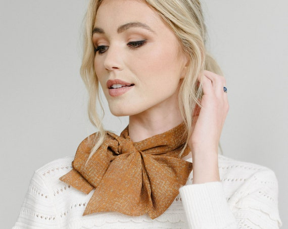 Terracotta Printed Chiffon Skinny Scarf/Long Neck Scarf/Hair Scarf/Bow