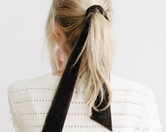 Velvet Skinny Scarf/Short Neck Scarf/Velvet Hair Scarf/Moss Green