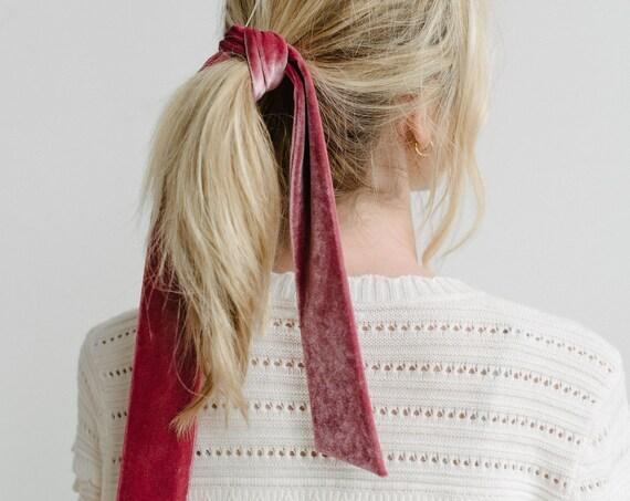 Velvet Skinny Scarf/Short Neck Scarf/Velvet Hair Scarf/Dusty Pink
