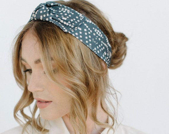 Printed Stretch Headband/Knotted Headband/Soft Headband/Dark Grey