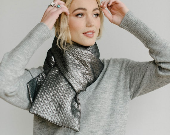 Silver Quilted Puffer Scarf/Nylon Wrap/Winter Scarf