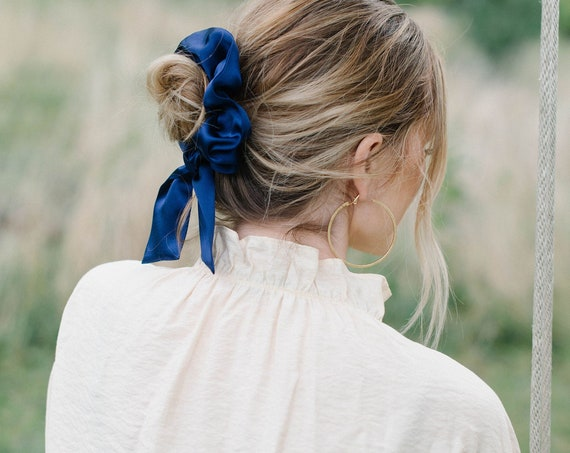 Royal Blue Silk Scrunchie/Pony Scarf/Bow Scrunchie