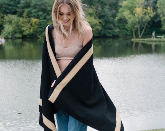 Black and Camel Wool Blanket Scarf/Wrap/Shawl