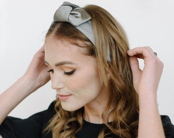 Grey Silk Knotted Stretch Headband/Top Knot/Bow