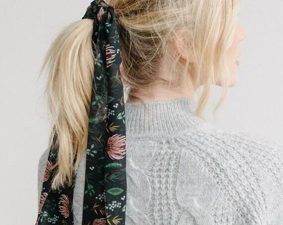 Floral Skinny Scarf/Hair Scarf/Neck Scarf/Black