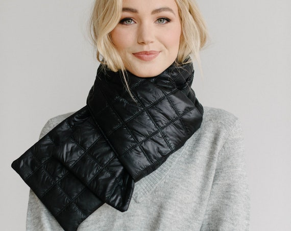 Quilted Puffer Scarf/Nylon Wrap/Winter Scarf/Black