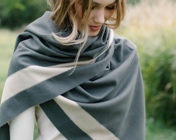 Grey and Ivory Wool Blanket Scarf/Wrap/Shawl