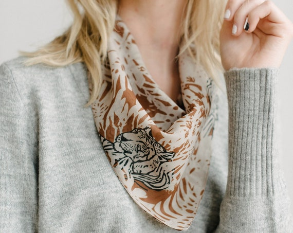 Printed Bandana/Square Neck Scarf/Hair Scarf/Chiffon Scarf/Brown
