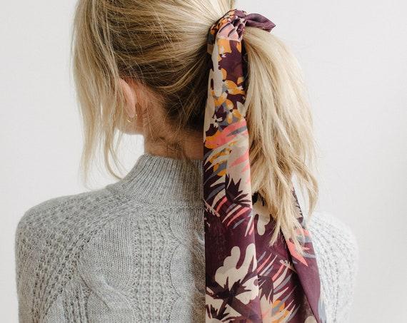 Floral Skinny Scarf/Chiffon Scarf/Neck Scarf/Plum