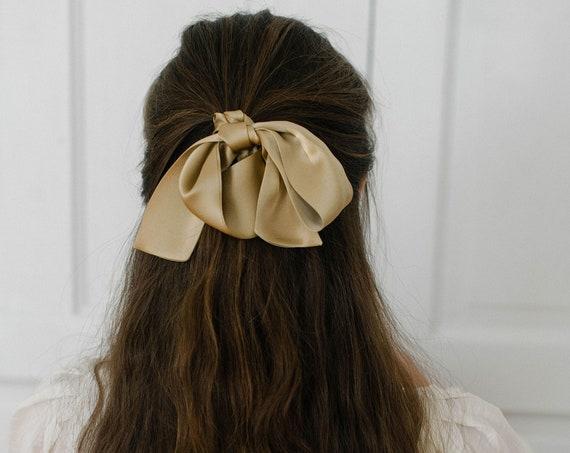 Taupe Silk Skinny Scarf/Hair Pony Scarf/Headband