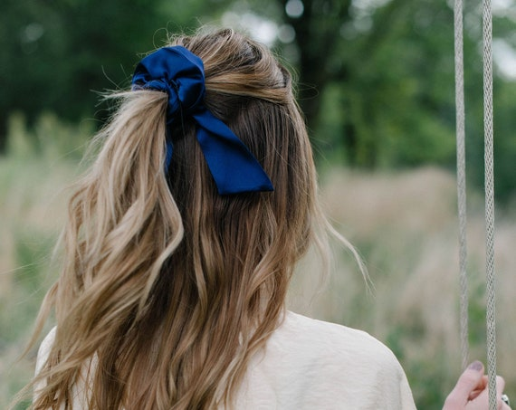 Royal Blue Silk Scrunchie/Pony Scarf/Bow Scrunchie