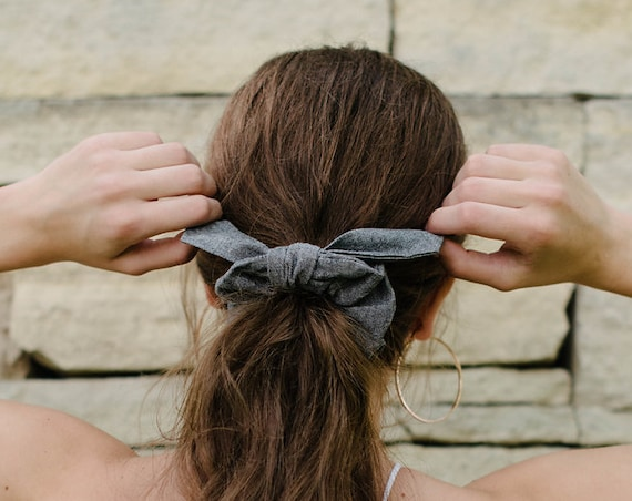 Scrunchie/Grey Hair Tie/Top Knot/Bunny Ears/Gift for Her