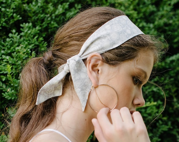 Short Skinny Scarf/Floral Hair Scarf/Hair Tie/Headband/Neck Scarf/Head Scarf/Hair Bow/Gift for Her