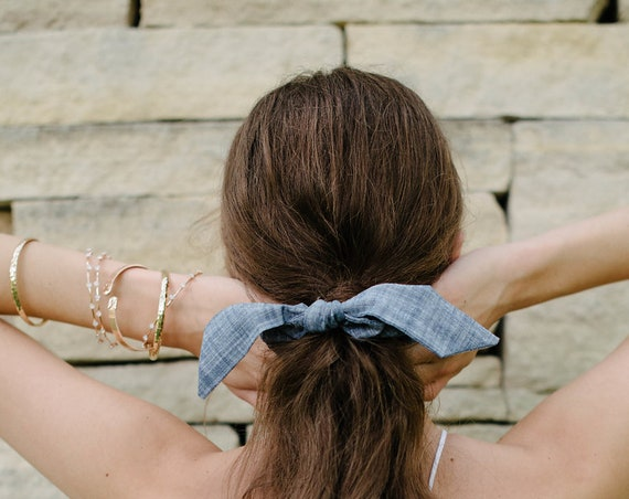 Cotton Scrunchie/Chambray/Top Knot Tie/Bunny Ears/Gift for Her