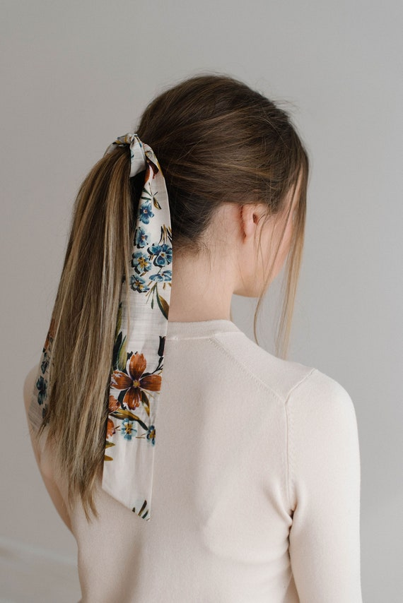 Floral Hair Scarf, Skinny Scarf, Headband Scarf, Neck Scarf