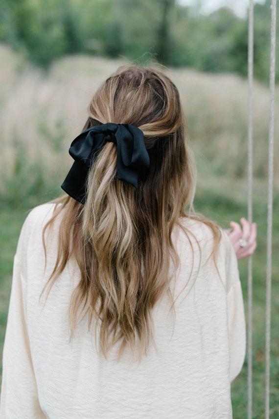 Black Silk Hair Scarf/Silk Headband/Skinny Scarf/Silk Neck Scarf