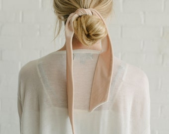 Ivory Velvet Skinny Scarf/Pony Hair Scarf/Headband/Hair Tie
