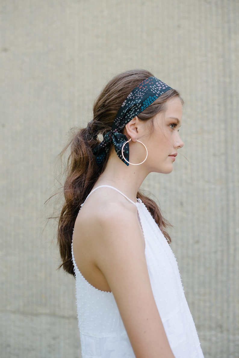 Black Short Skinny Scarf/Hair Scarf/Headband/Hair Tie/Ponytail Scarf