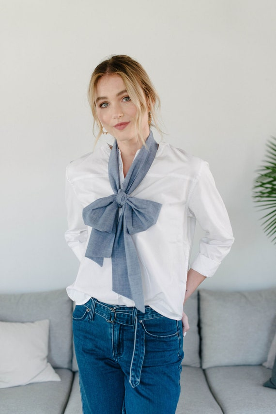 Long Skinny Scarf/Bow Neck Scarf/Chambray/Gift for Her