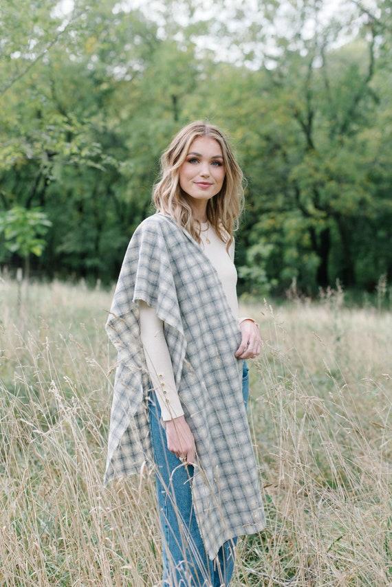 Grey Plaid Wool Blanket Scarf/Wrap/Shawl