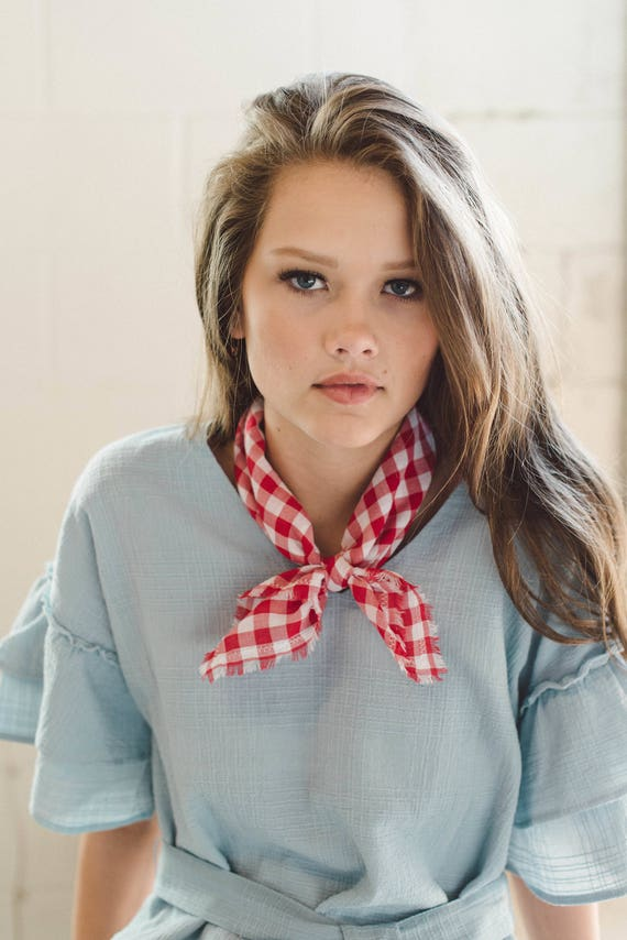 Red Bandana/Cotton Neck Scarf/Gingham/Neckerchief/Gift for Her
