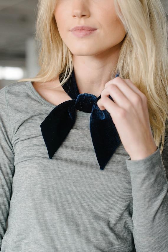 Navy Velvet Skinny Scarf/Headband/Hair Tie/Pony Scarf