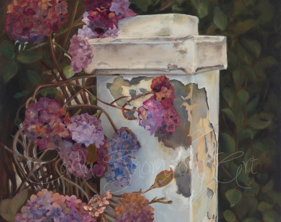 Wall Art PRINT 8x10  panel of Original oil painting of Hydrangea on Driveway Post , Original Painting Print