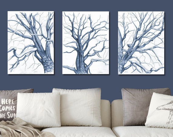 Branches Drawings Triptych Prints in Midnight