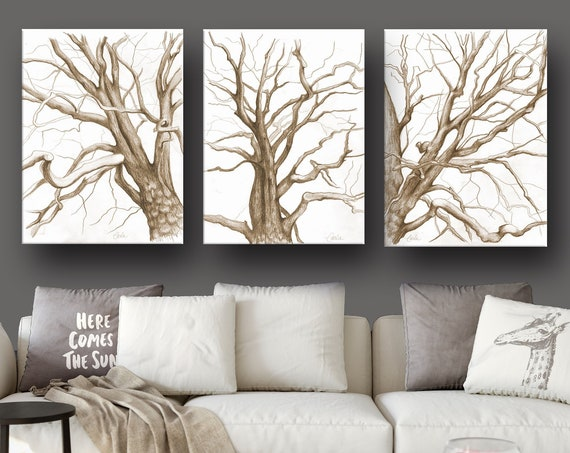 Branches Drawings Triptych in Sepia