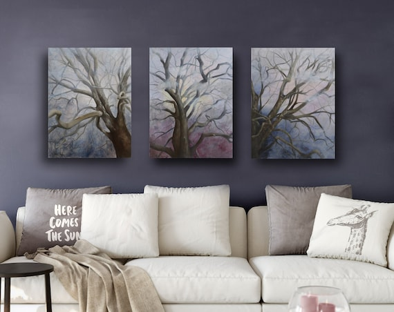 "Branches Triptych  24 x 54"" Oil & Cold Wax on Panels"