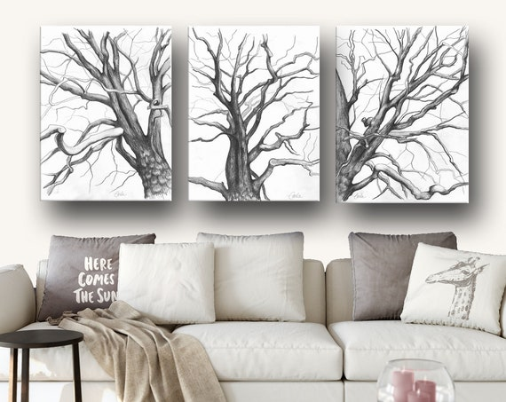 PRINT of Branches Drawings Triptych in Charcoal
