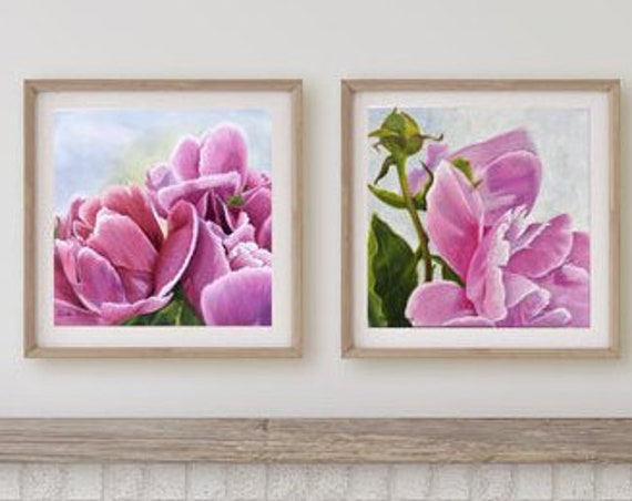 Wall Art PRINTS Set of TWO of Oil Painting Original Art Prints of Bright Pink Peonies for Nursery Decor, Home Decor or Office Decor