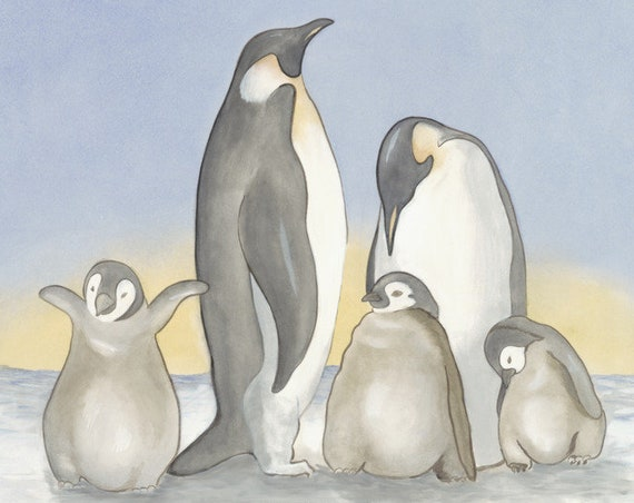 Family of Penguins PRINT, Kids Wall Art or Nursery, Children or Boy's or Girl's Room Decoro