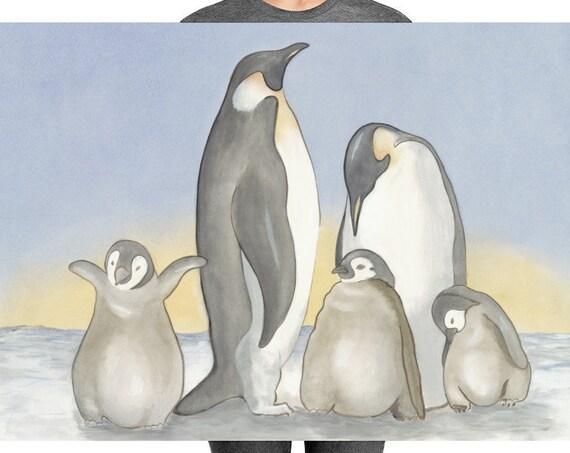 Family of Penguins PRINT, Kids Wall Art or Nursery, Children or Boy's or Girl's Room Decoro