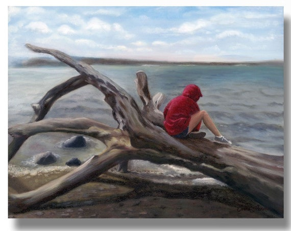 Beach Art Print, Seascape Painting Print, Original Painting of Child on Seashore