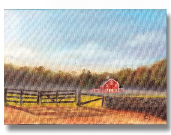 "Red Barn in the Mist  5x7"" oil on canvas"