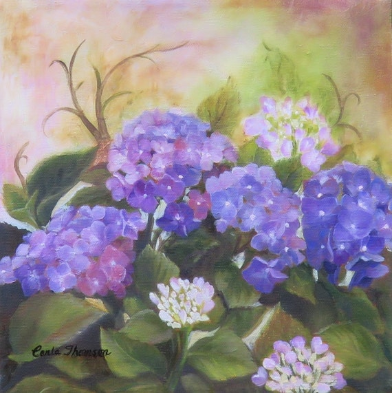 Art PRINT of Purple Hydrangea Flowers