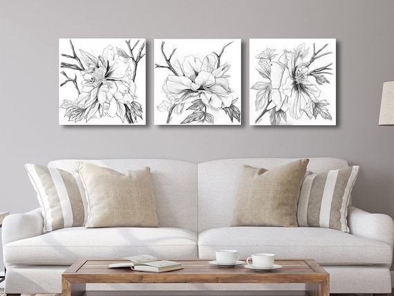 Peony Drawings Triptych in Charcoal, Navy or Sepia