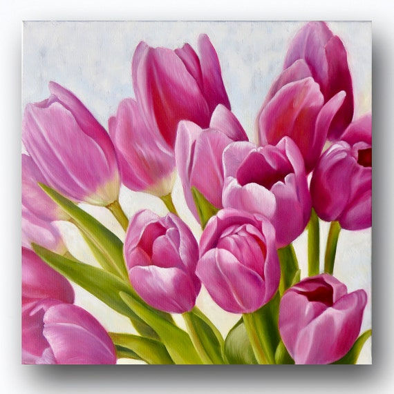 Art PRINT of an Original Oil Painting of Multiple Deep Pink Tulips for Nursery, Home or Office Decor