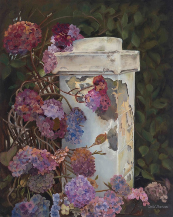 Art PRINT of Hydrangea Flowers Painting