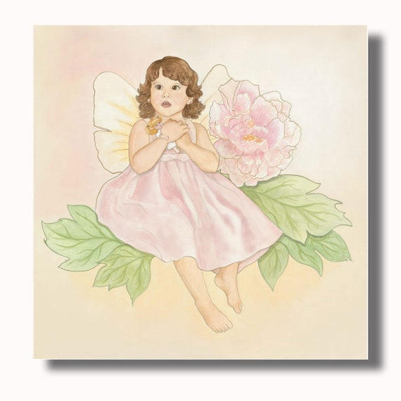 Nursery Wall Art, Art PRINTS, Nursery Decor Fairy Art of Pink Peony Flower Fairy for Baby Girl Nursery