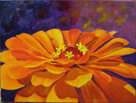 Orange Zinnia Reproduction Print