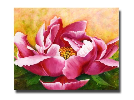 Peony Flower Art PRINT, Pink White Peony Floral Art Print , Colorful Floral Art Print, Original Painting Print