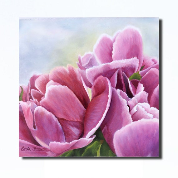 Art PRINT of Original Oil Painting of Deep Pink Peonies for Nursery, Home or Office Decor