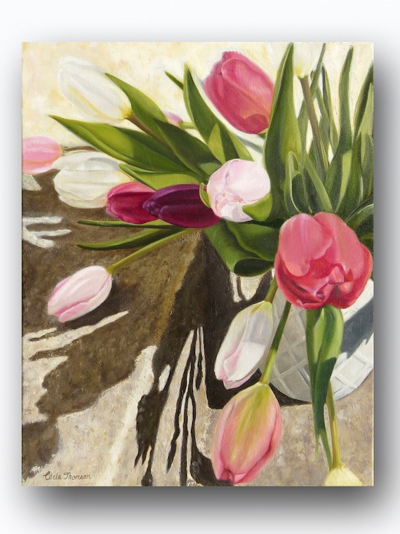 Art PRINT of Original Oil Painting of Multi-Colored Bouquet of Tulip Flowers for Home or Office Decor