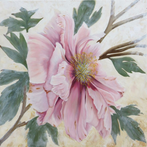 "Blush Pink Peony  ""Persistence"" -  Oil & Cold Wax on Panel"